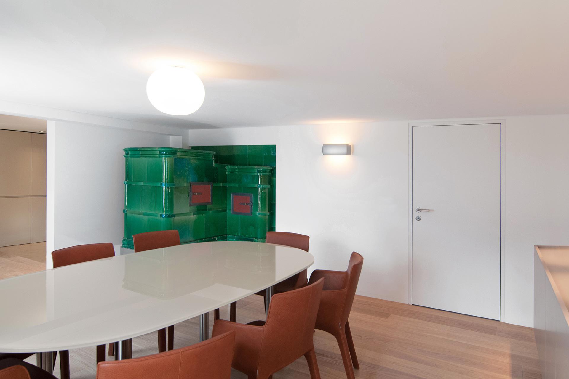 Pfister Klingenfuss Architekten, Bauernhaus Hölzli, Appenzell, Essen, Kachelofen
