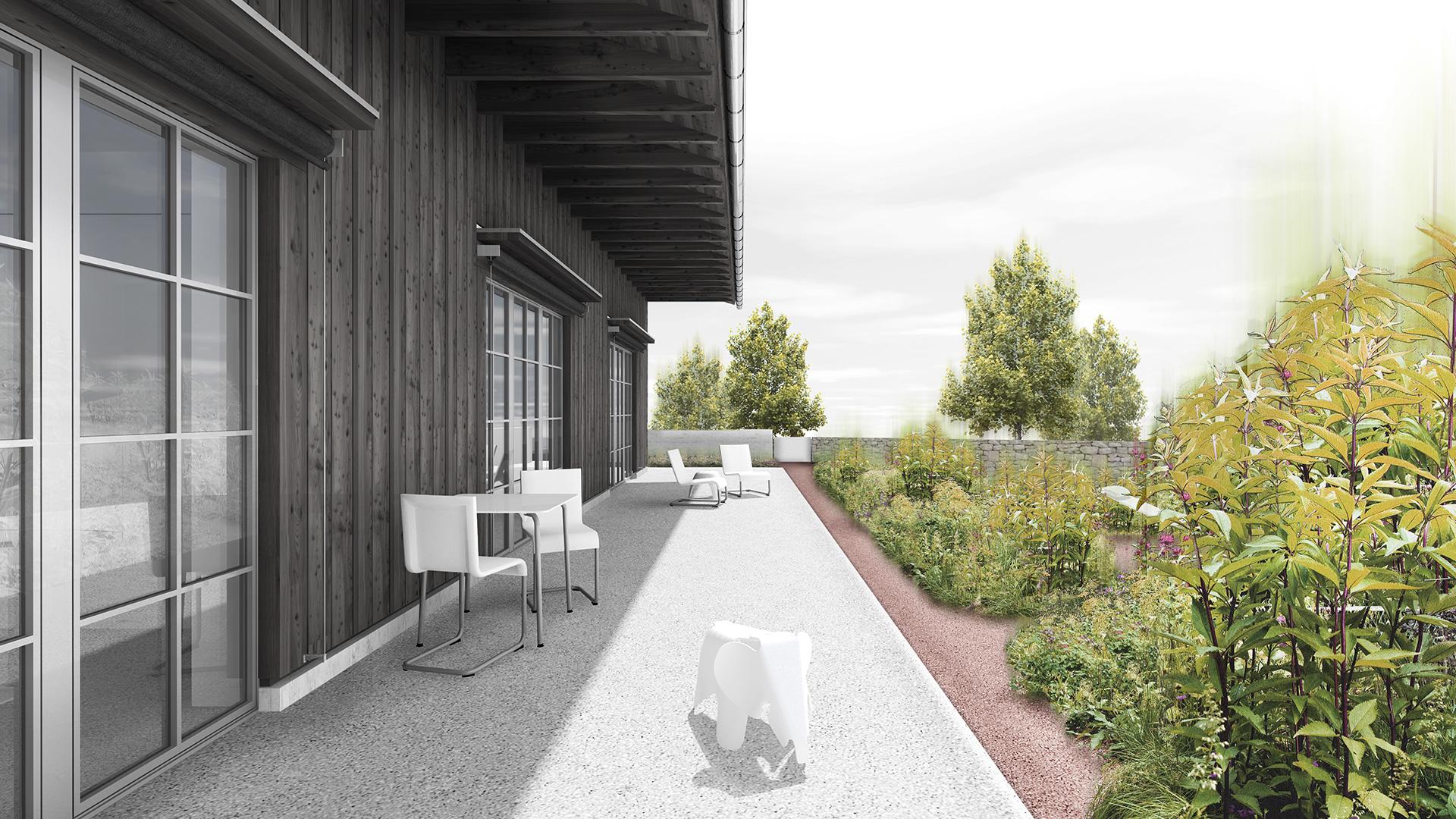 Pfister Klingenfuss Architekten, Haus am Stadtrand, St.Gallen, Aussensitzplatz