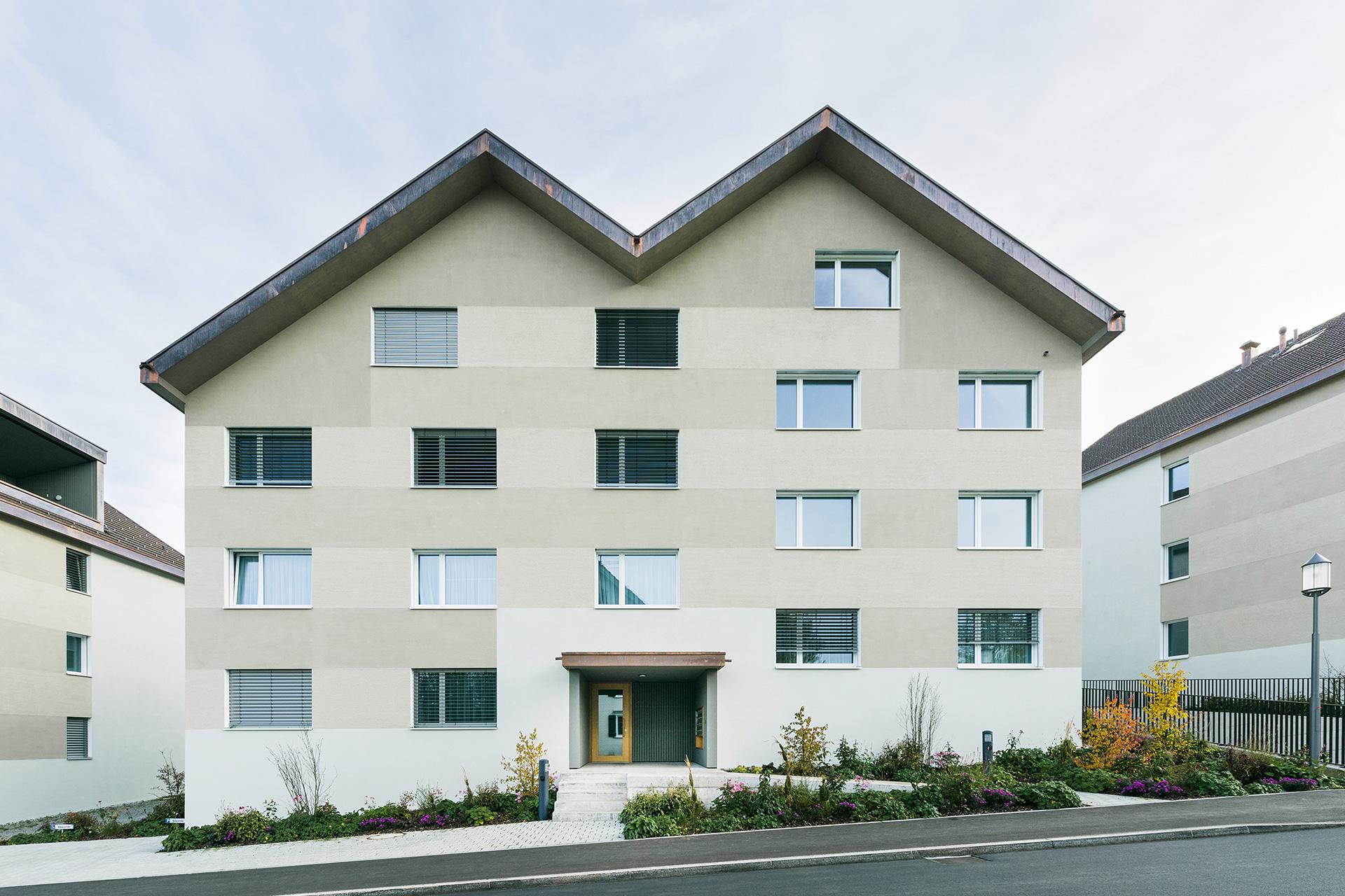 Pfister Klingenfuss Architekten, Wohnhäuser Hintere Wühre, Appenzell, Strasse und Aussenansichten