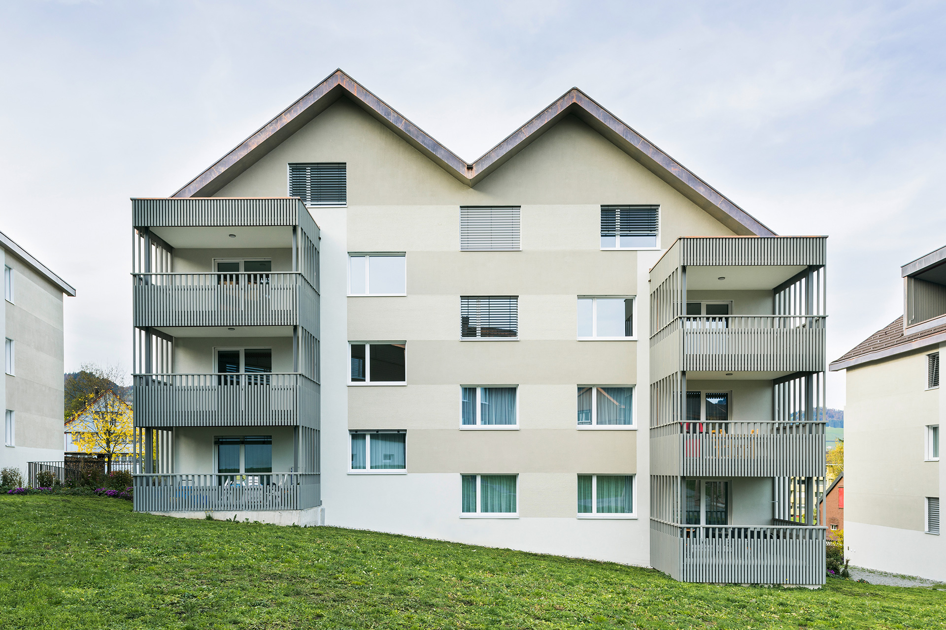 Pfister Klingenfuss Architekten, Wohnhäuser Hintere Wühre, Appenzell, Aussenansichten