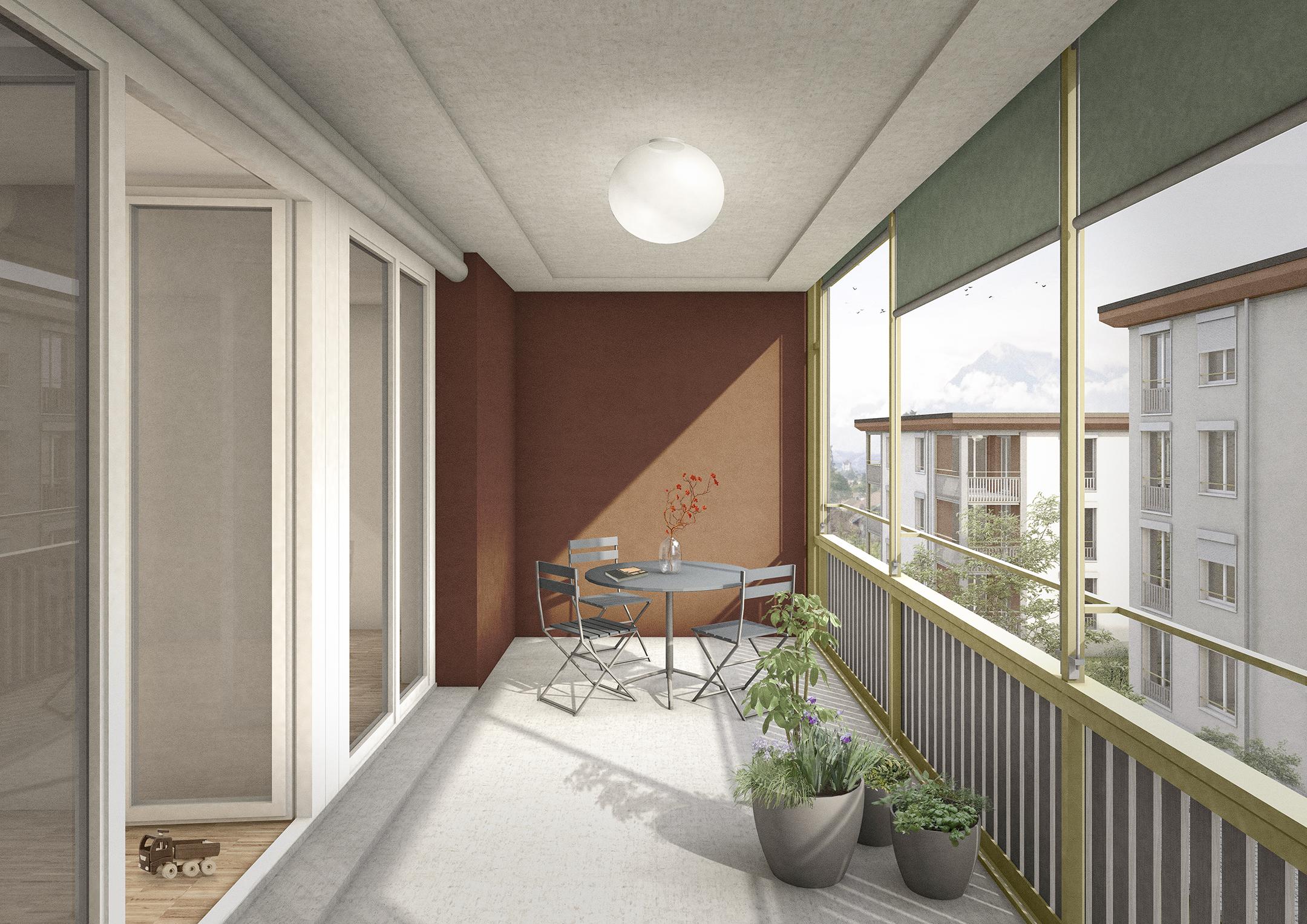 Pfister Klingenfuss Architekten, Wohnüberbauung Scheidgasse, Steffisburg, Visualisierung Balkon