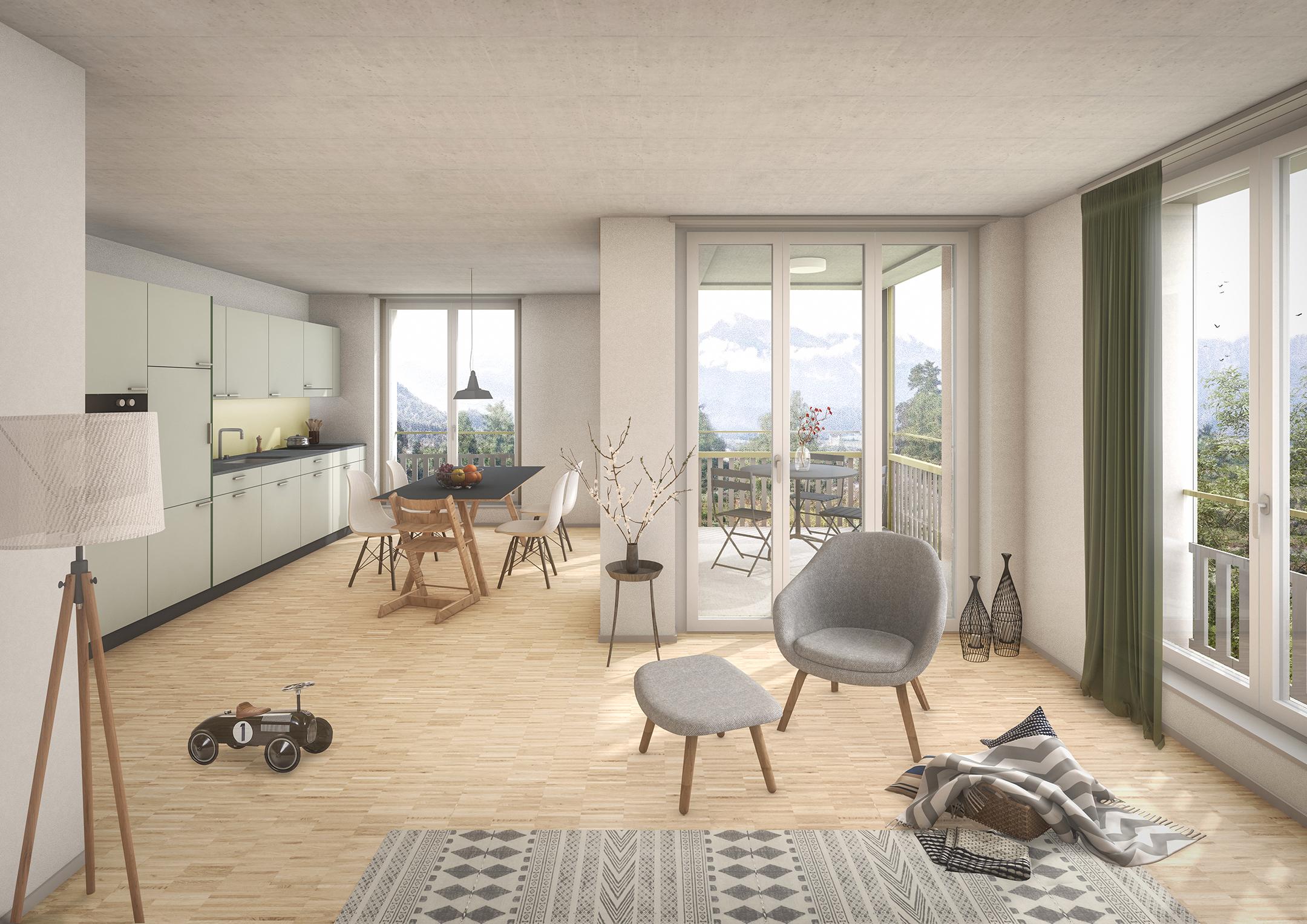 Pfister Klingenfuss Architekten, Wohnüberbauung Scheidgasse, Steffisburg, Visualisierung Wohnung Gebäude A
