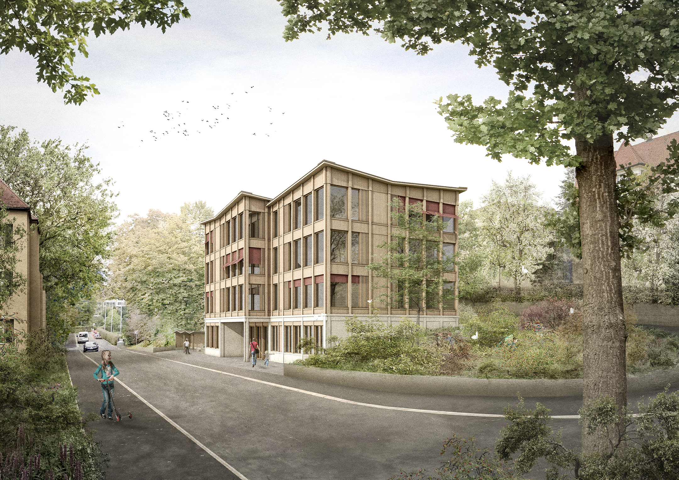 Pfister Klingenfuss Architekten AG, Wettbewerb, Tagesbetreuung Hebel, aussen