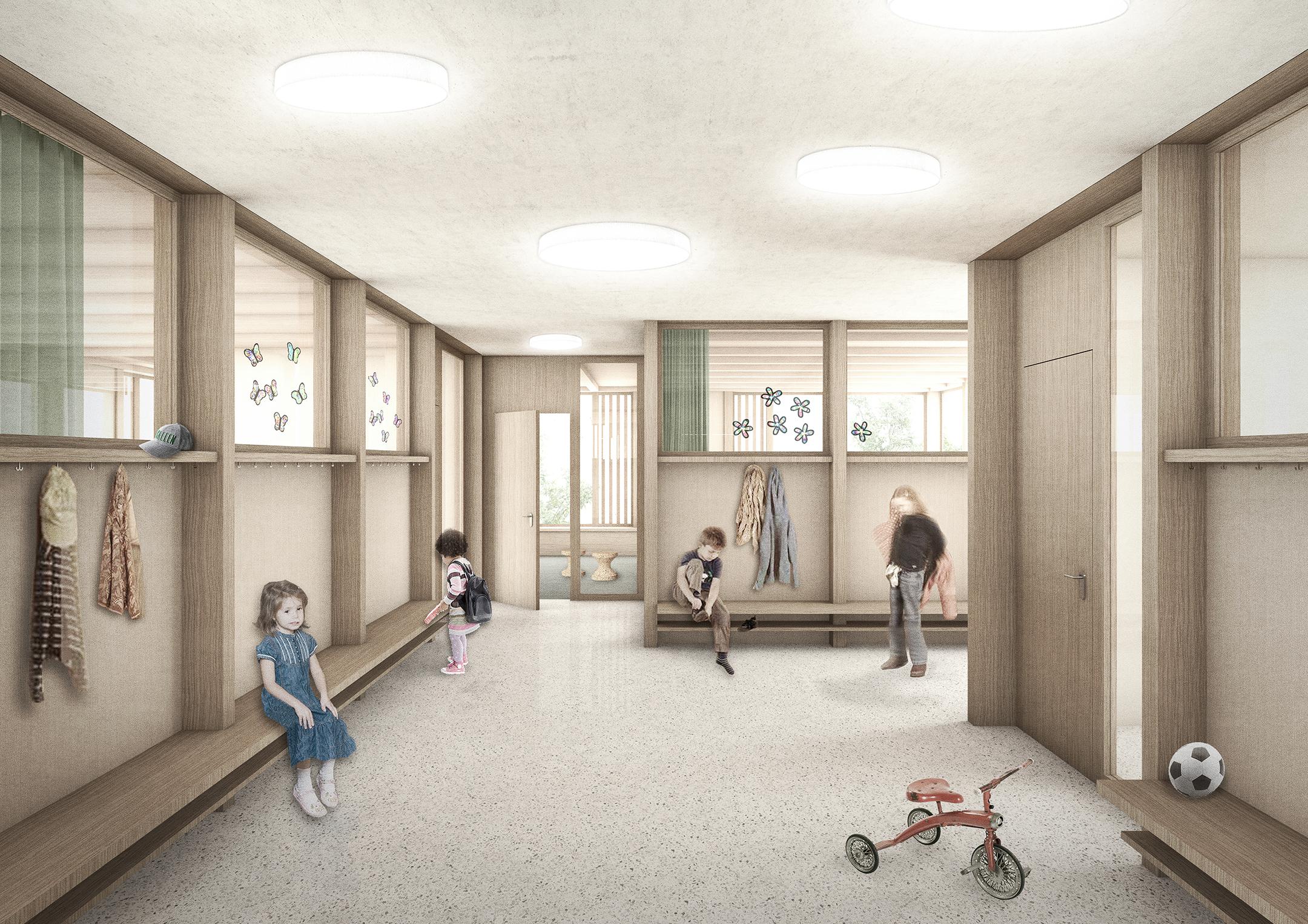 Pfister Klingenfuss Architekten AG, Wettbewerb, Tagesbetreuung Hebel, innen