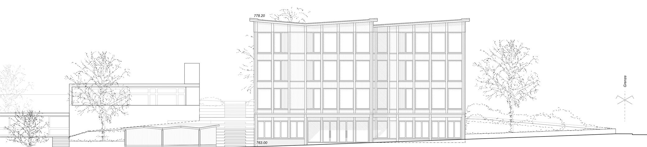 Pfister Klingenfuss Architekten AG, Wettbewerb, Tagesbetreuung Hebel, Ansicht West