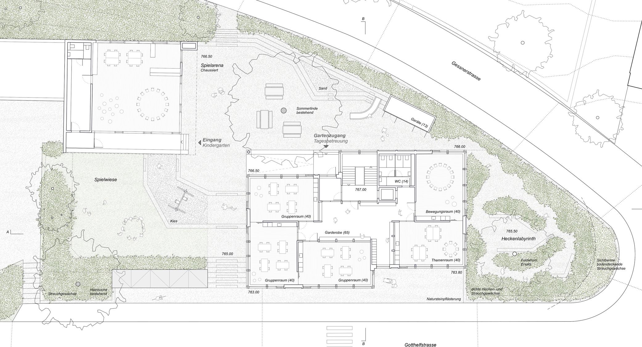 Pfister Klingenfuss Architekten AG, Wettbewerb, Tagesbetreuung Hebel, Gartengeschoss