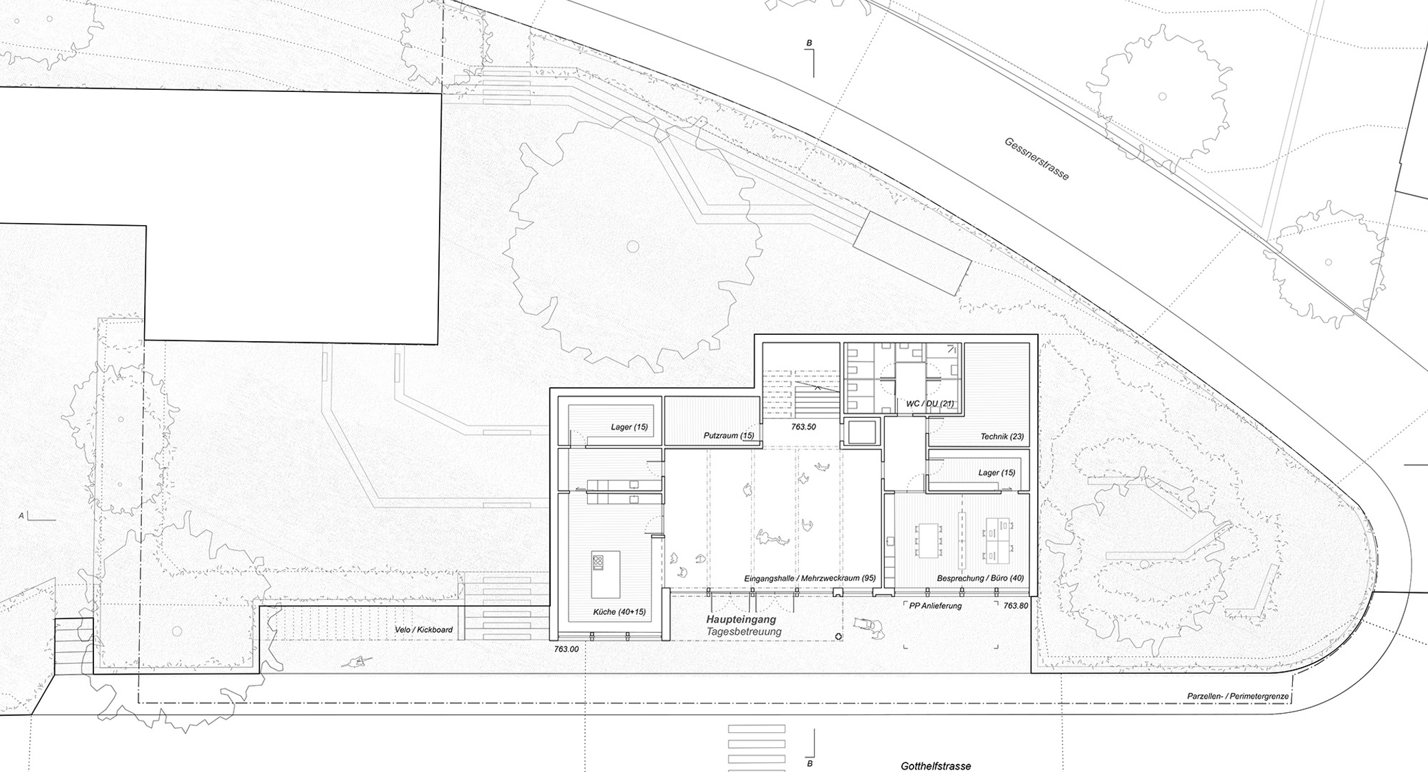 Pfister Klingenfuss Architekten AG, Wettbewerb, Tagesbetreuung Hebel, Zugangsgeschoss