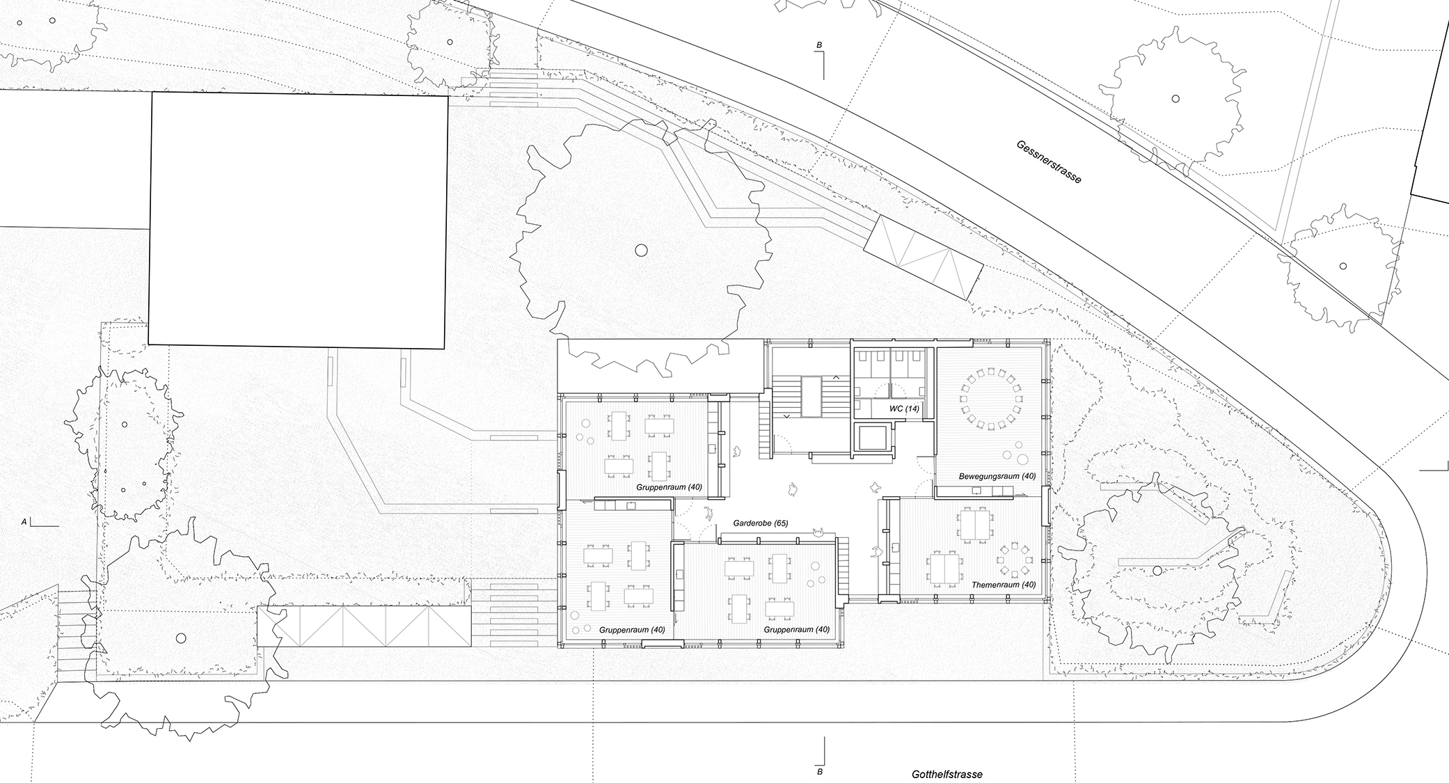 Pfister Klingenfuss Architekten AG, Wettbewerb, Tagesbetreuung Hebel, Regelgeschoss